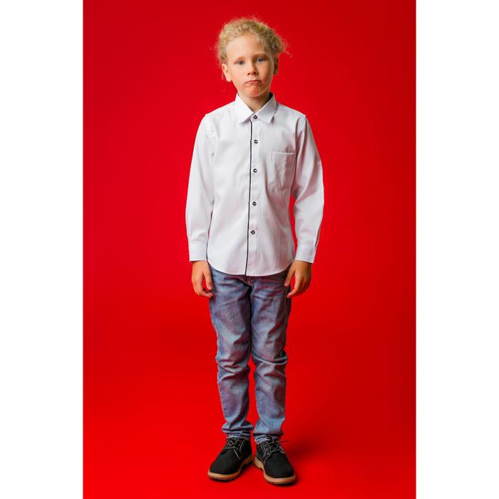 """Рубашка для мальчика """"Классическая"""", рост 146 см, цвет белый/чёрный"""