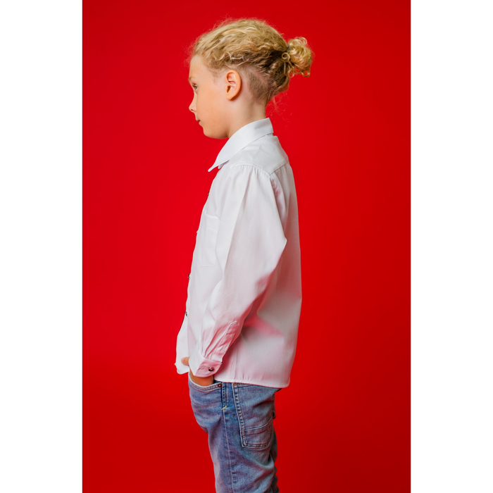 """Рубашка для мальчика """"Классическая"""", рост 128 см, цвет белый/чёрный"""