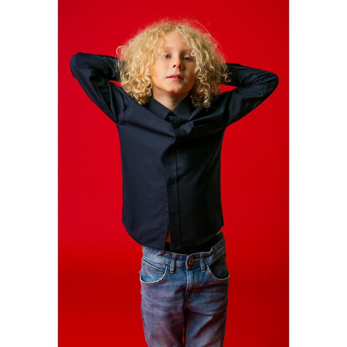 """Рубашка для мальчика """"Классическая"""", рост 140-146 см, цвет тёмно-синий"""