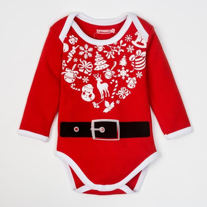 """Боди Крошка Я """"Любимчик Деда Мороза"""", красный, р.26, рост 74-80"""