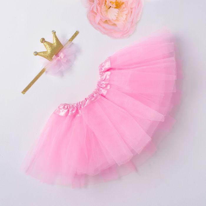 """Набор для фотосессии Крошка Я """"Маленькая принцесса"""" юбка и повязка на голову, розовый"""