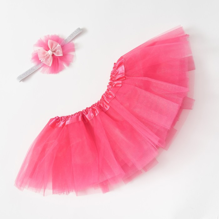 "Набор Крошка Я ""Любимый цветочек"" юбка и повязка на голову 3-18 мес, фуксия"