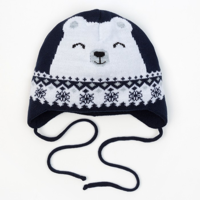 "Шапка вязаная Крошка Я ""Мишка со снежинкой"", синий, р. 46"