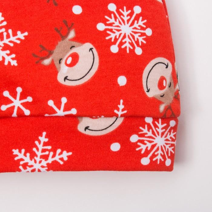 """Чепчик (шапочка) Крошка Я """"Новогодний оленёнок"""", красный, р.40"""