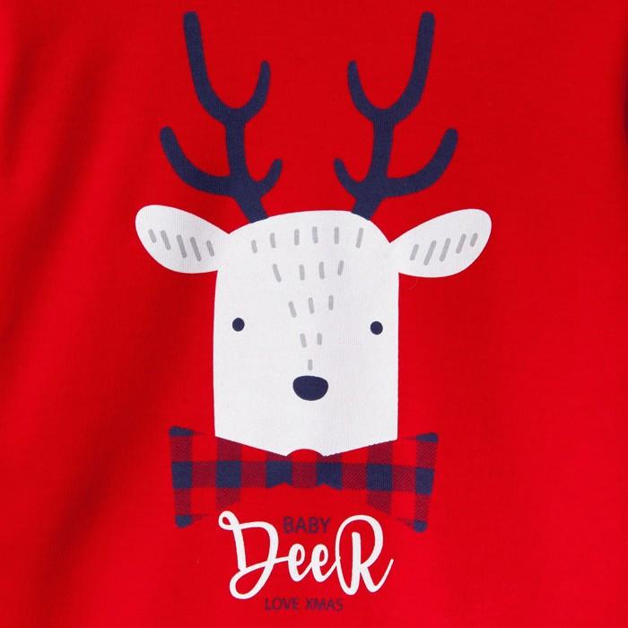 """Комплект: джемпер и брюки Крошка Я """"Deer"""", красный/синий, р.30, 98-104 см"""