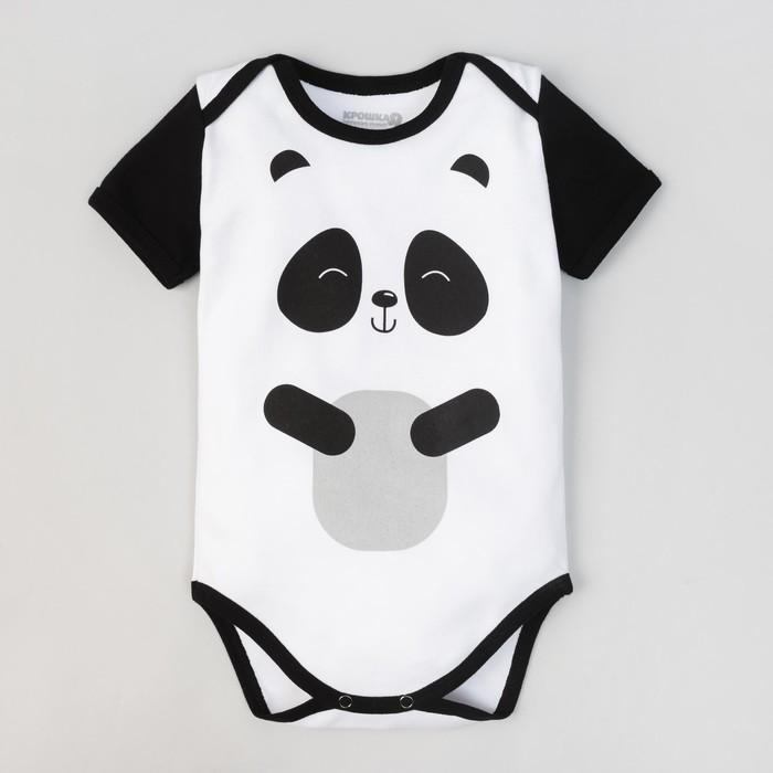 """Боди детское """"Панда"""", рост 68-74 см, 6-9 мес (24 р-р), 100% хл, интерлок"""