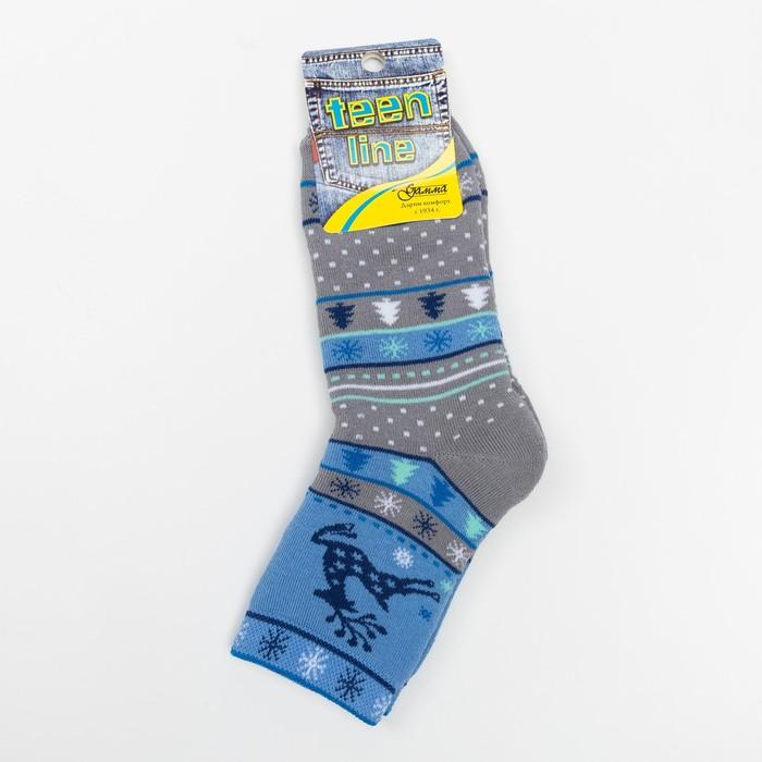 Носки детские махровые «Олень», цвет серый, размер 20-22
