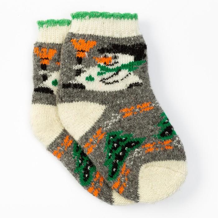 Носки новогодние детские шерстяные «Снеговик», цвет серый, размер 18