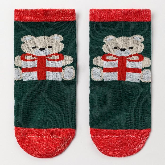 Носки детские «Мишка с подарком», цвет зеленый, размер 14-16