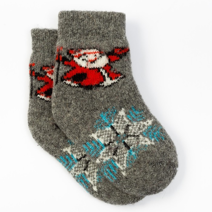 """Носки детские шерстяные """"Дед мороз"""", цвет серый, размер 22"""