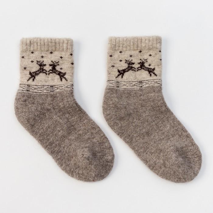 Носки новогодние детские шерстяные Organic «Олени», цвет серый, размер 16-18 см (4)