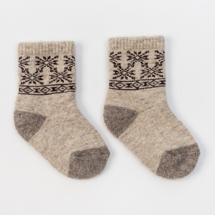 Носки детские шерстяные 02106 Organic Снежинки цвет молочный, р-р 16-18 см (4)