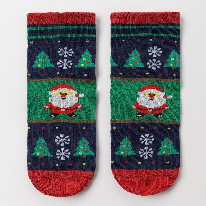 Носки детские «Дед Мороз», цвет зелёный, размер 20-22