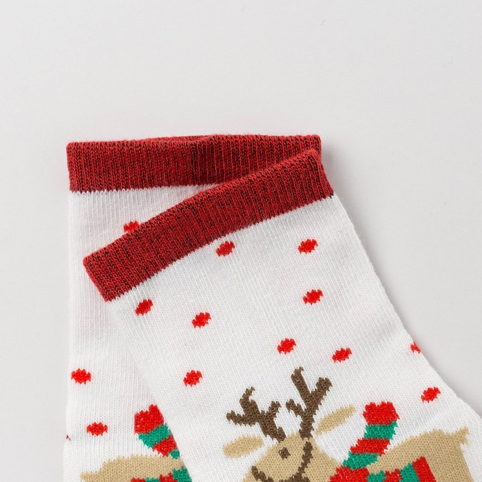 Носки детские «Новогодний олень», цвет белый, размер 20-22