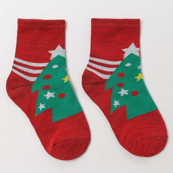 Носки детские «Ёлка в звёздах», цвет красный, размер 20-22