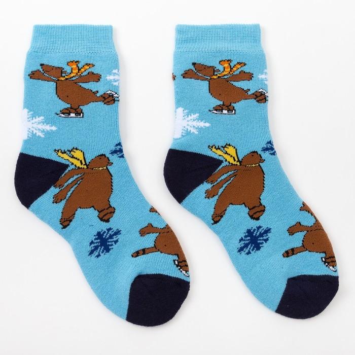 Носки детские махровые, цвет голубой, размер 18-20