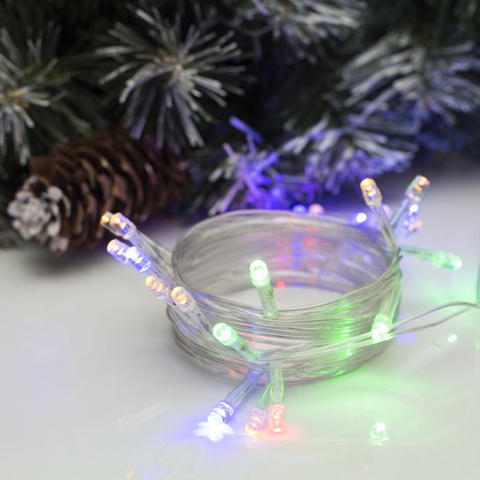 """Гирлянда """"Нить"""", 2.5 м, LED-25-220V, фиксинг, нить прозрачная, свечение мульти"""