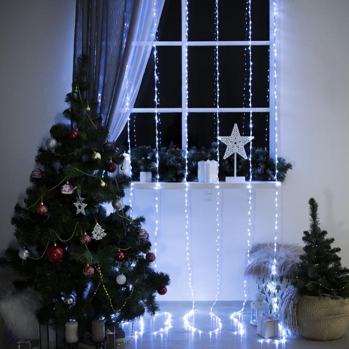 """Гирлянда """"Водопад"""", 2 х 3 м, LED-800-220V, 32 режима, нить прозрачная, свечение белое"""