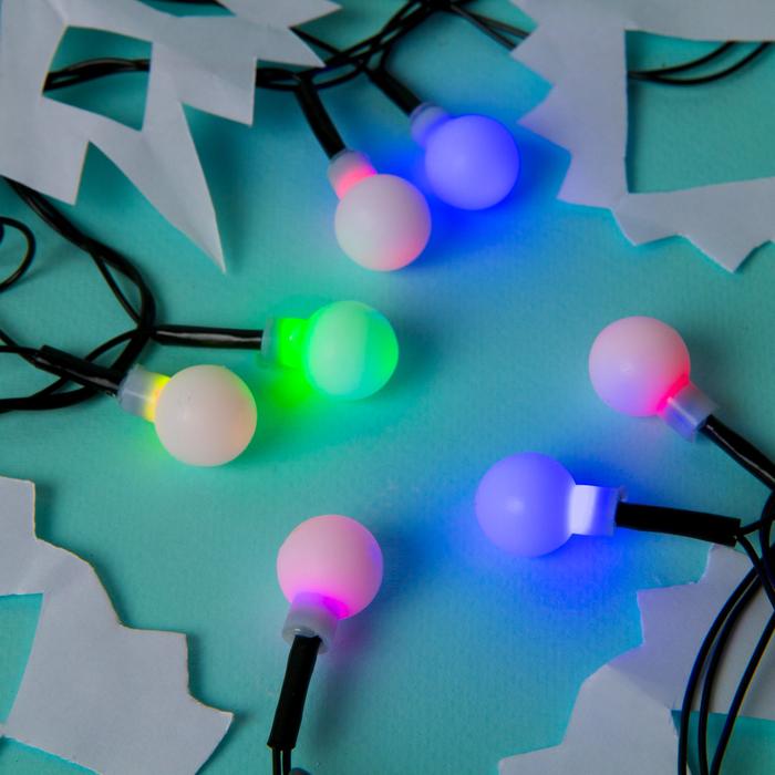 """Гирлянда """"Нить"""" с насадками """"Шарики Белые"""", 5 м, LED-20-220V, мигает, нить тёмная, свечение мульти (RG/RB)"""