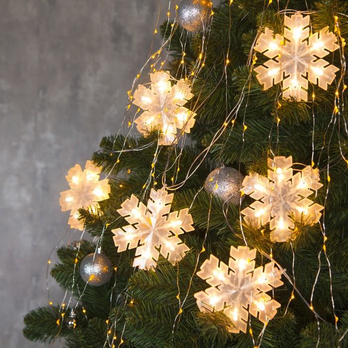"""Гирлянда """"Нить"""" с насадками """"Снежинка матовая"""", 12х12 см, 2 м, LED-36-220V, нить прозрачная, свечение тёплое белое"""