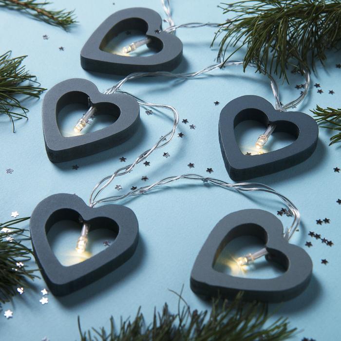 """Гирлянда """"Нить"""", 1.5 м, с насадками """"Сердце синее"""", LED-10-3V, 2*АА, фиксинг, нить прозрачная, свечение тёплое белое"""