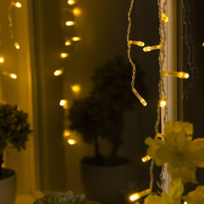 """Гирлянда """"Бахрома-арка"""", 1 х 1 м, LED-126-220V, 8 режимов, нить прозрачная, свечение тёплое белое"""