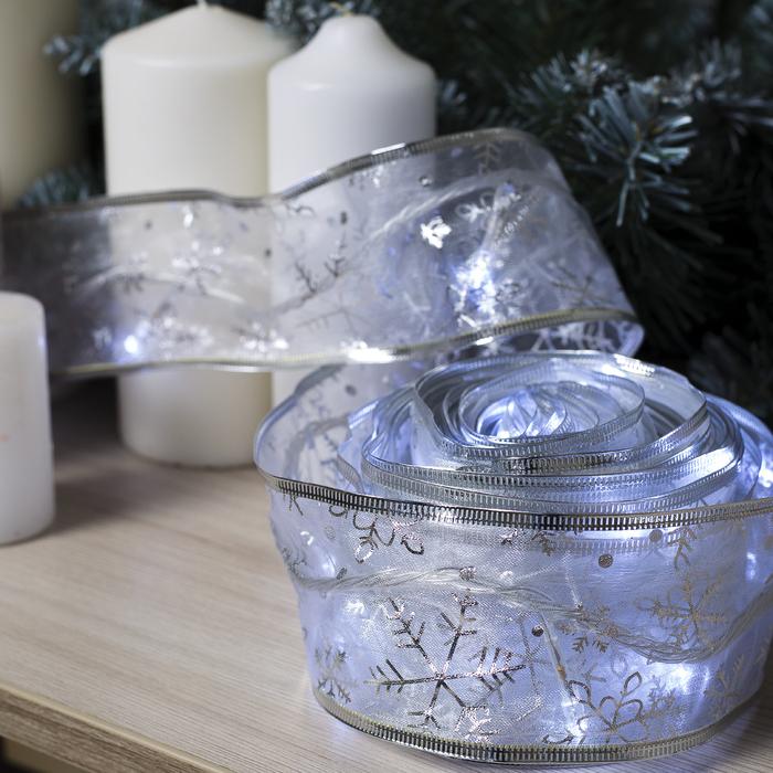 """Гирлянда """"Нить"""" Лента """"Снежинки серебристые"""" 9 м, ширина 6 см, LED-72-220V, кон. 8 р. свечение белое"""