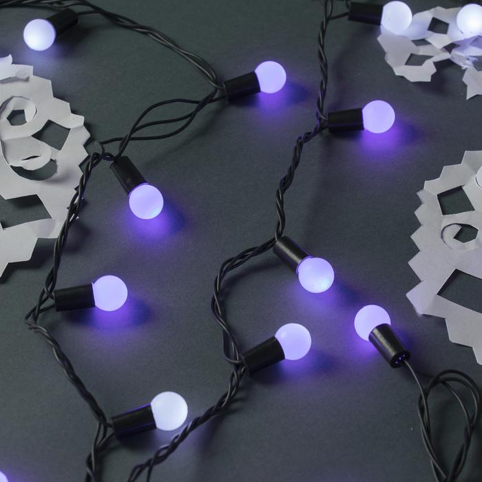 """Гирлянда """"Нить"""" уличная с насадками """"Шарики d=1,5 см"""" 10 м, LED-100-220V, мигает, нить тёмная, свечение бело-синее"""