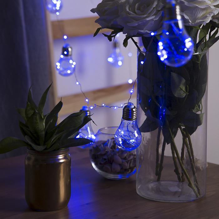 """Гирлянда """"Нить"""" с насадками """"Лампочки"""" 3 м, 10 пластиковых лампочек, LED-100-12V, нить прозрачная, свечение синее"""