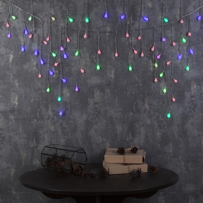 """Гирлянда """"Бахрома"""", 3 х 0.5 м, """"Шарики"""" LED-80-220V, мигает, нить прозрачная, свечение мульти (RG/RB)"""