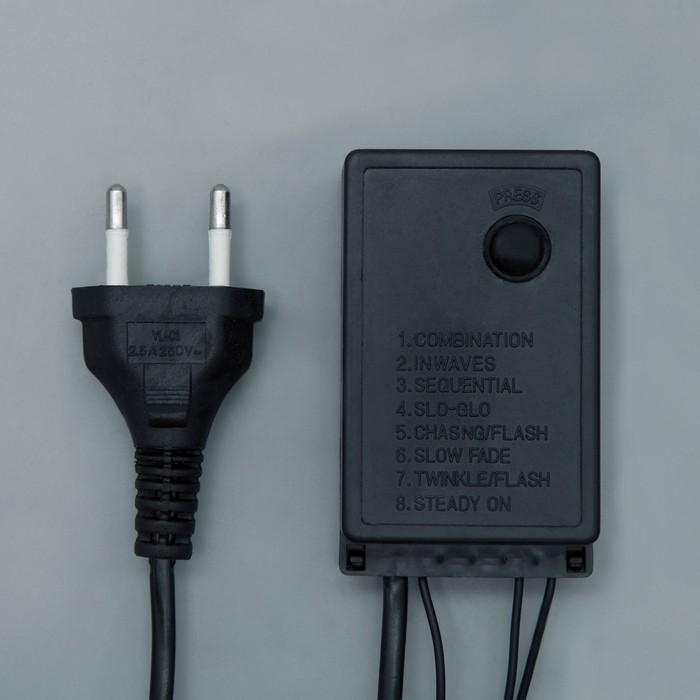 """Гирлянда """"Нить"""" уличная с насадками """"Шарики большие d=2,5 см"""" 10 м, LED-100-220V, 8 режимов, нить тёмная, свечение зелёное"""