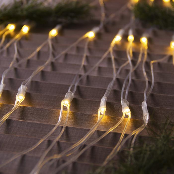 """Гирлянда """"Сеть"""" уличная УМС 2 х 3 м, 3W LED-384-220V, нить прозрачная, свечение тёплое белое"""