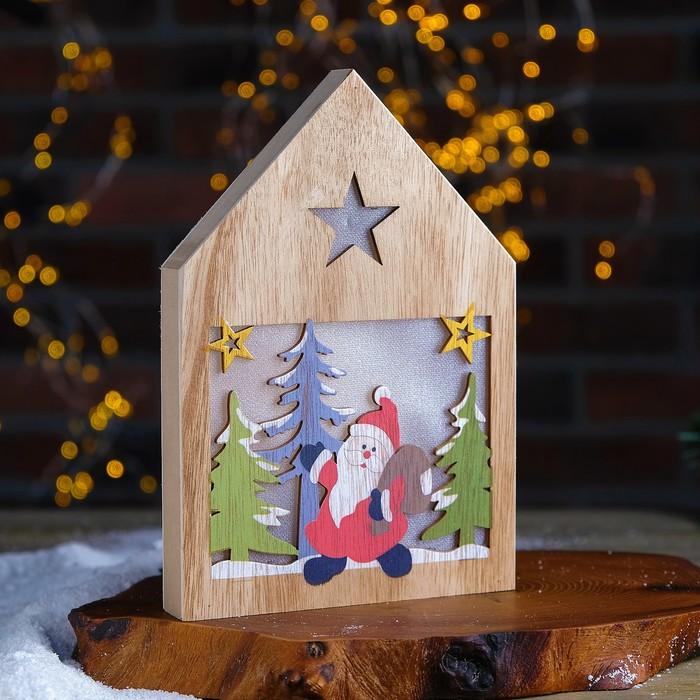 """Декор с подсветкой """"Дед мороз с подарками"""" 2,2х15,5х22 см"""