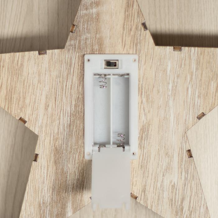 """Фигура деревянная """"Звезда со Снеговиком"""", 22х22х4 см, 2*AАA (не в компл.) 6 LED, серый фон"""