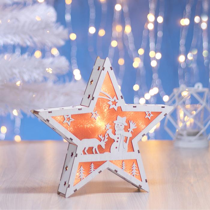 "Фигура деревянная ""Звезда со Снеговиком"", 22х22х4 см, 2*AАA (не в компл.) 6 LED, красный фон"