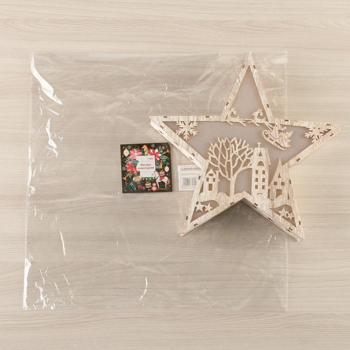"""Фигура деревянная """"Звезда Двор и Олени"""", 22х22х4 см, 2*AАA (не в компл.) 6 LED, серый фон"""