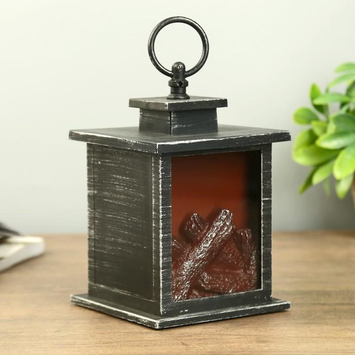 """Ночник настольный """"Камин"""" черный-хром 12х12х13,5 см."""