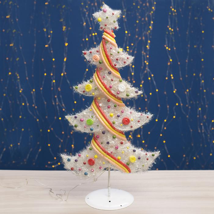 "Фигура новогодняя ""Ёлка с шариками"", 25 LED, 80 см, от батареек (не в компл)"