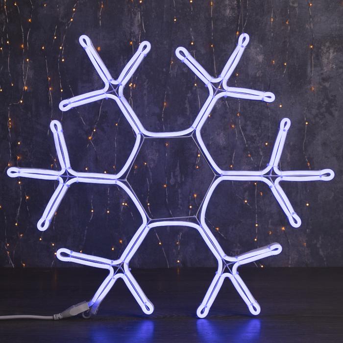 """Фигура из неона """"Снежинка"""", 60 см, 5 метров, 600 LED, 220 В, СИНИЙ"""