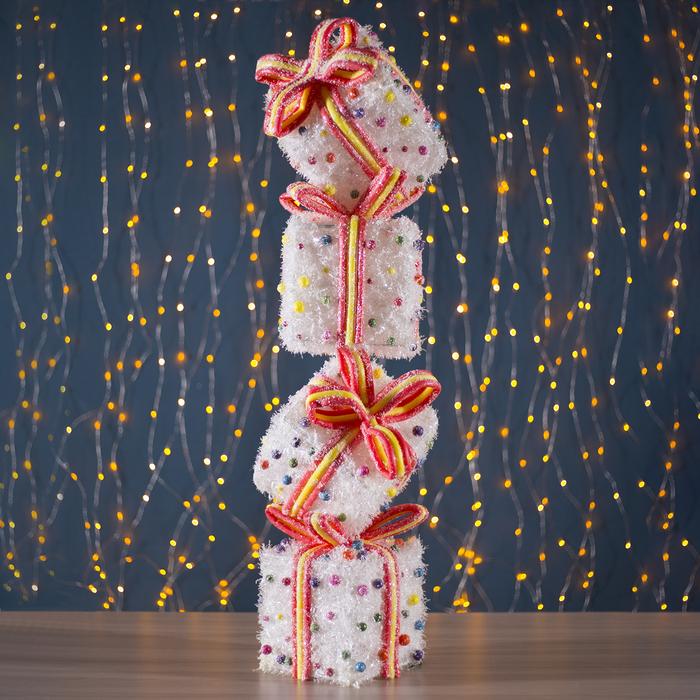 "Фигура новогодняя ""Подарки с шариками"", 35 LED, 23 х 23 х 86 см, от батареек (не в компл)"