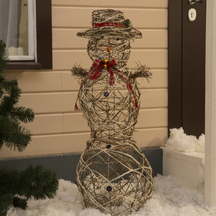 "Фигура дерев.""Снеговик большой"" 80 ламп,45х45х120 см,220V,ТЕПЛ.БЕЛЫЙ"