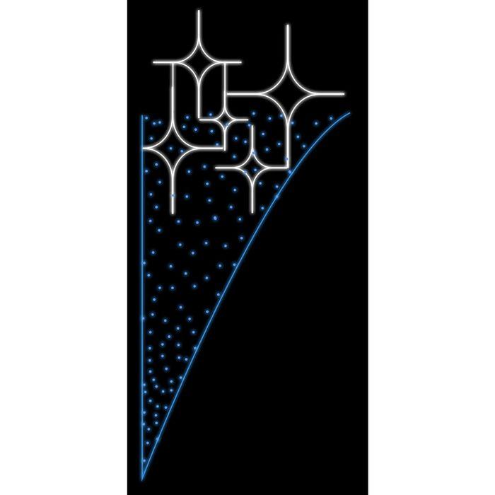 """Светодиодная консоль """"ПЯТЬ ЗВЕЗД с ГИРЛЯНДОЙ"""",1х0.5м, шнур 8м, метраж 5м (синие диоды), 40Вт"""