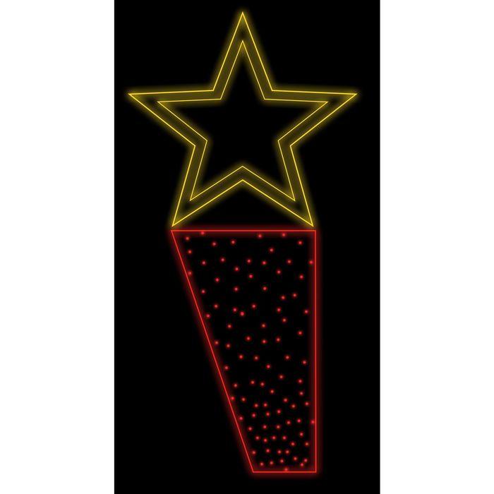 """Светодиодная консоль """"ПОБЕДА"""", 1.5х0.65м, шнур 8м, 10м (красные диоды), 50Вт, металл. Каркас"""