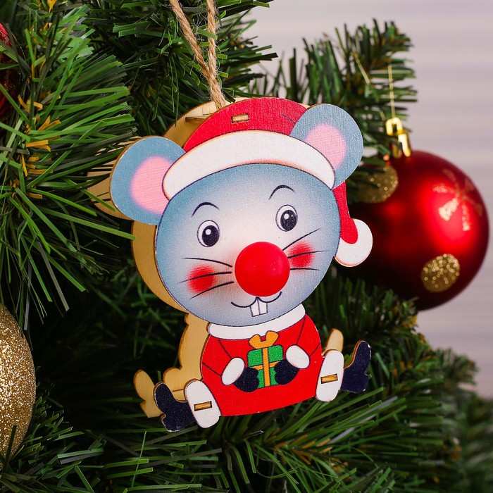 Декор с подсветкой «Мышка с подарком»