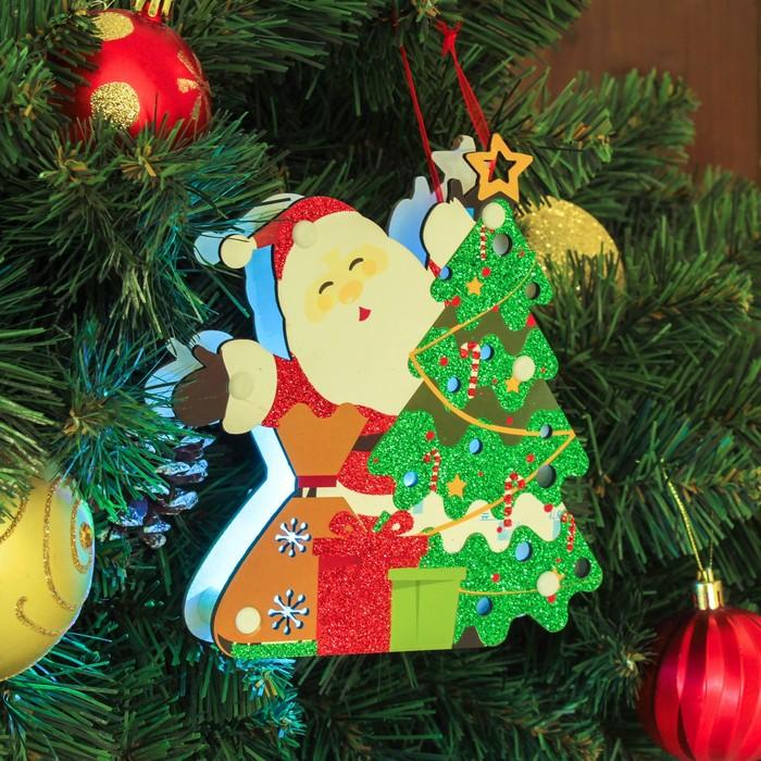 """Декор с подсветкой """"Дед мороз и ёлка"""" 2,3×14×16 см"""