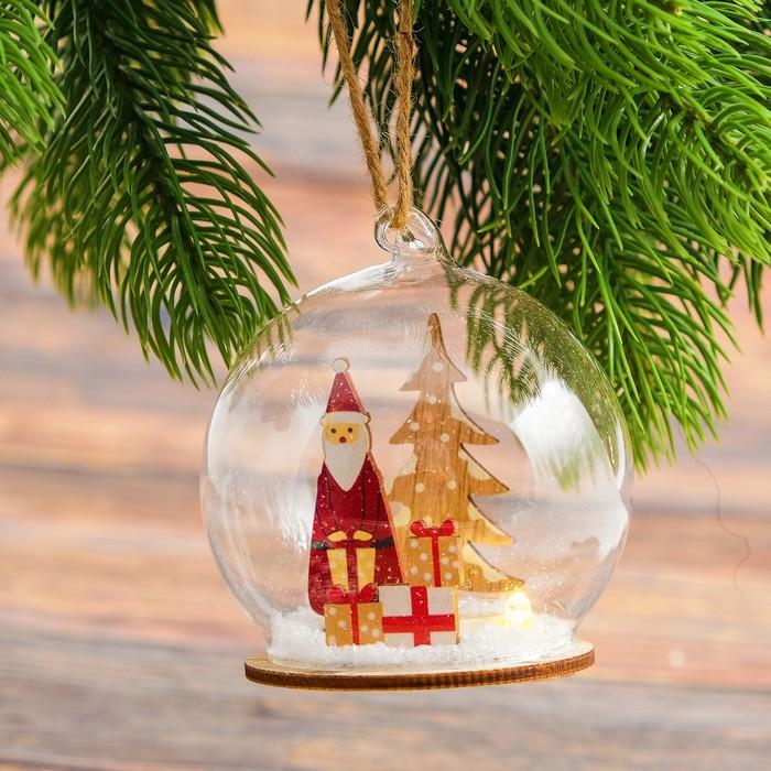 """Декор с подсветкой в стекле """"Праздничный шар"""" 8х8х7 см"""
