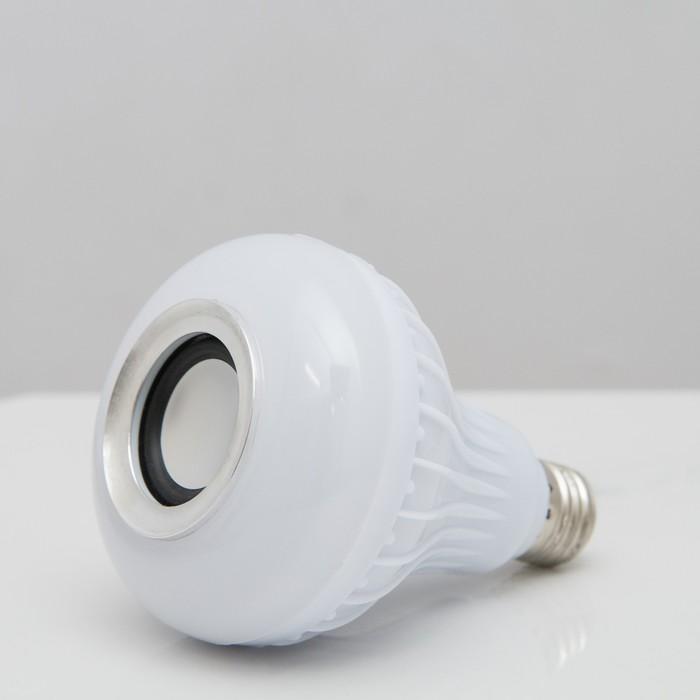 Световой прибор с музыкой, 220V, цоколь Е27, пульт, беспроводной, БЕЛЫЙ