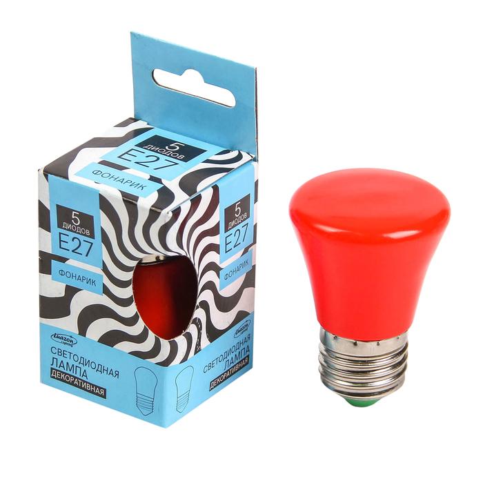 """Лампа светодиодная декорат. Luazon Lighting """"Фонарик"""", 5 SMD2835, для белт-лайта, красный"""