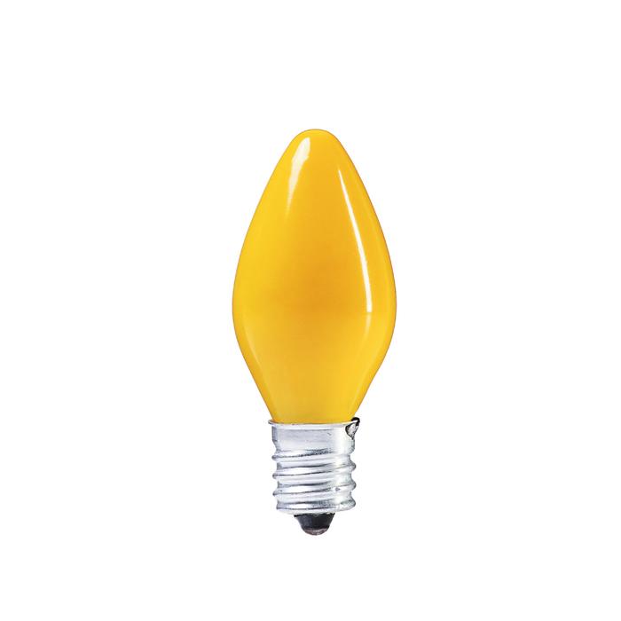 Лампочка накаливания E12, 10W, для ночников и гирлянд, матовая желтая, 220 В