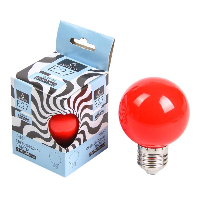 Лампа светодиодная декоративная Luazon Lighting, G60, 6 SMD2835, для белт-лайта, красный